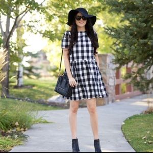 Rachel Parcell Gingham Check Dropped Hem Dress